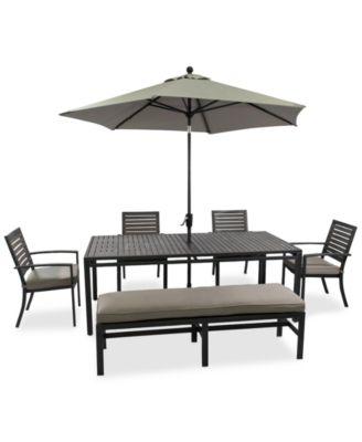 CLOSEOUT Marlough Outdoor Aluminum 6Pc Dining Set 84 x 42