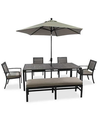 Marlough Outdoor Aluminum Pc Dining Set  X  Dining Table - Macy outdoor furniture