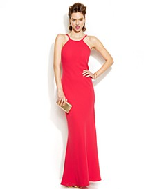 Open-Back Halter Gown