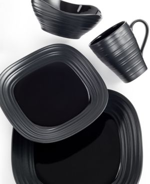Mikasa Dinnerware, Swirl Square Black 4 Piece Place Setting