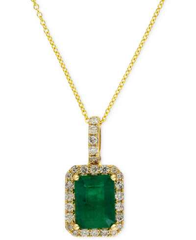 Brasilica by EFFY Emerald (1-3/8 ct. t.w.) and Diamond (1/4 ct. t.w.) Pendant Necklace in 14k Gold, Created for Macy's