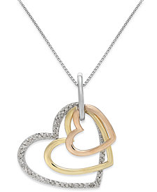 Diamond Tri-Tone Triple Heart Pendant Necklace in Sterling Silver and 14k Gold (1/5 ct. t.w.)