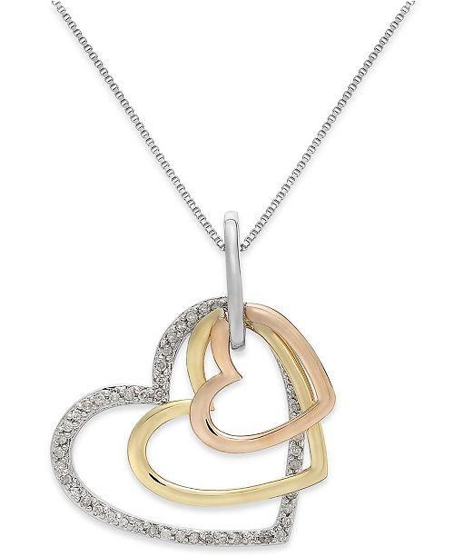 Macys diamond tri tone triple heart pendant necklace in sterling main image aloadofball Images