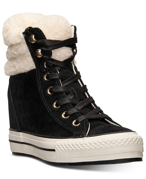 68dd3e1dba3 ... Converse Women s Chuck Taylor All Star Platform Plus Hi Suede Casual  Sneakers from Finish ...