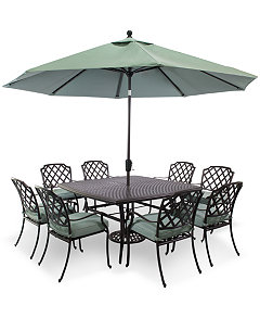 Nottingham Outdoor Cast Aluminum 9 Pc Dining Set 60 Square Table And 8 Chairs Created For Macys