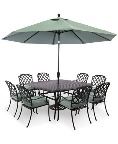 Nottingham Outdoor Cast Aluminum 9 Pc Dining Set 60