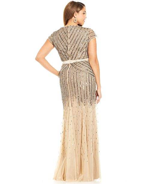 Adrianna Papell Plus Size Cap Sleeve Beaded Sequined Gown Dresses