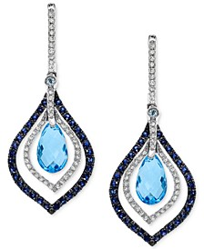 EFFY® Blue Topaz and Sapphire (4-5/8 ct. t.w.) and Diamond (1/3 ct. t.w.) Drop Earrings in 14k White Gold