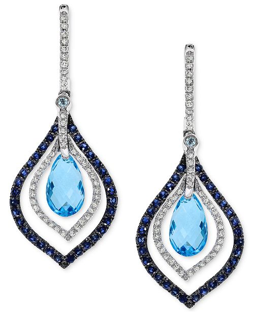 EFFY Collection EFFY® Blue Topaz and Sapphire (4-5/8 ct. t.w.) and Diamond (1/3 ct. t.w.) Drop Earrings in 14k White Gold