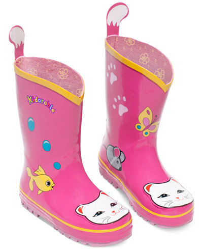 Kidorable Little Girls Lucky Cat Rain Boots