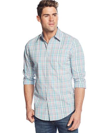 Club Room Big And Tall Plaid Pocket Long Sleeve Shirt