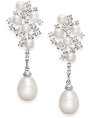 Image of Arabella Cultured Freshwater Pearl and Swarovski Zirconia Drop Earrings in Sterling Silver (4 & 8mm)