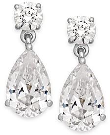 Swarovski Zirconia Double Drop Earrings in 14k White Gold