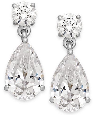 Arabella Swarovski Zirconia Double Drop Earrings in 14k White Gold