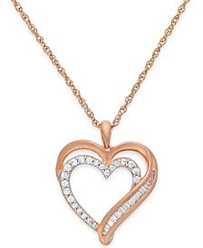 Diamond Heart Pendant Necklace in 10k Rose Gold (1/4 ct. t.w.)
