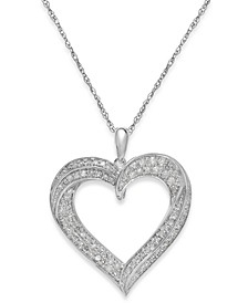 Diamond Heart Pendant Necklace in Sterling Silver (1/3 ct. t.w.)