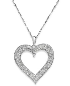 Diamond Heart Pendant Necklace in Sterling Silver (1/3 ct. t.w.)