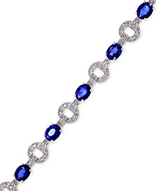 Royale Bleu by EFFY Sapphire (5-1/8 ct. t.w.) and Diamond (1/3 ct. t.w.) Bracelet in 14k White Gold, Created for Macy's