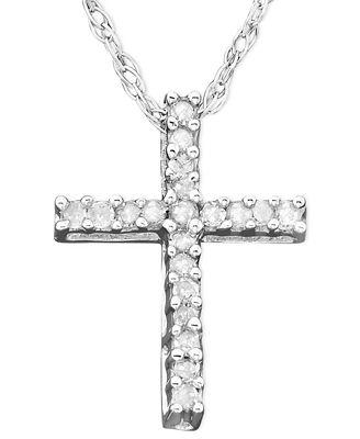 diamond cross pendant necklace in 14k white gold 110 ct