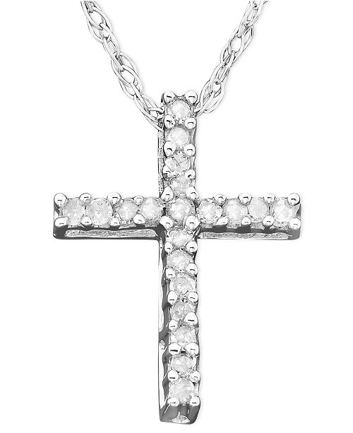 Macy s Diamond Cross Pendant Necklace in 14k White Gold (1 10 ct ... 34e09f270e89
