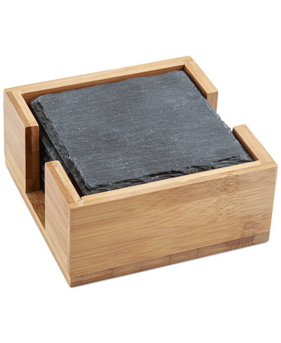 Thirstystone Set of 4 Slate Coasters with Holder