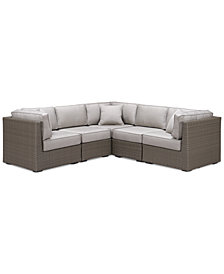 CLOSEOUT! South Harbor Outdoor 5-Pc. Modular Seating Set (3 Corner Units and 2 Armless Units), Created for Macy's