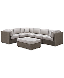 CLOSEOUT! South Harbor Outdoor 7-Pc. Modular Seating Set (3 Corner Units, 3 Armless Units and 1 Ottoman), Created for Macy's