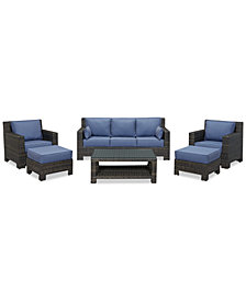 Viewport Outdoor Wicker 6-Pc. Seating Set (1 Sofa, 2 Club Chairs, 2 Ottomans and 1 Coffee Table), Created for Macy's