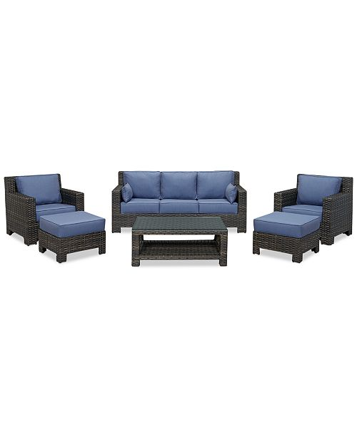 Furniture Viewport Outdoor Wicker 6-Pc. Seating Set (1 Sofa, 2 Club Chairs, 2 Ottomans and 1 Coffee Table), Created for Macy's