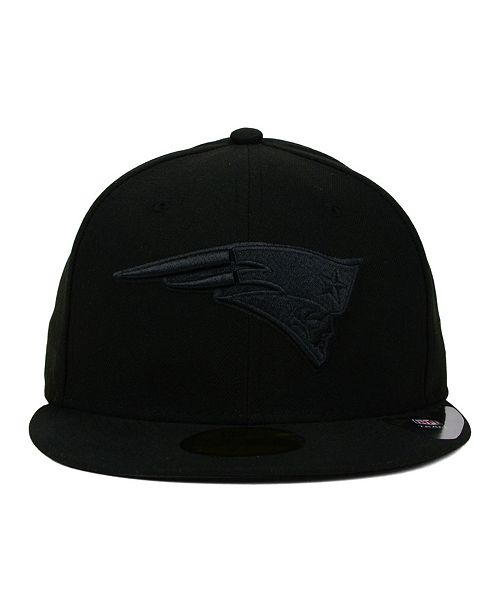 ... New Era New England Patriots Black on Black 59FIFTY Fitted Cap ... 44fe7981e