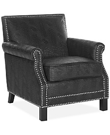 Benson Faux Leather Accent Chair, Quick Ship