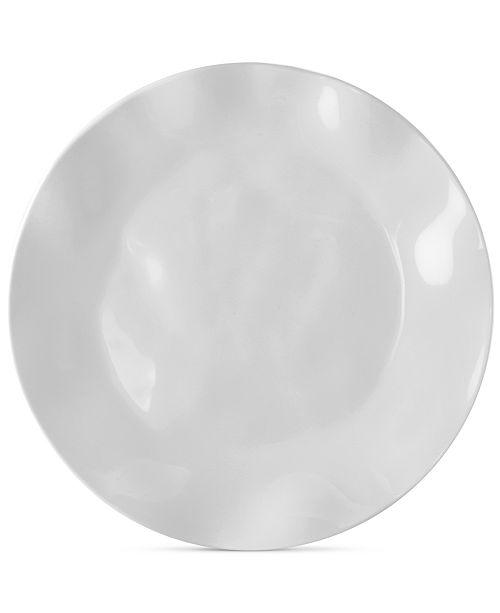 Q Squared Ruffle White Melamine Dinner Plates, Set of 4