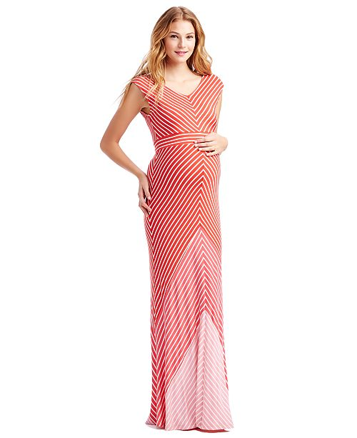 85b0acb562ac3 Jessica Simpson Maternity Cap-Sleeve Striped Maxi Dress & Reviews ...
