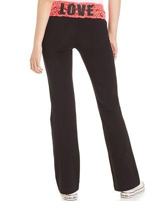 Material Girl Active Juniors' Lace-Waistband Wide-Leg Yoga Pants ...