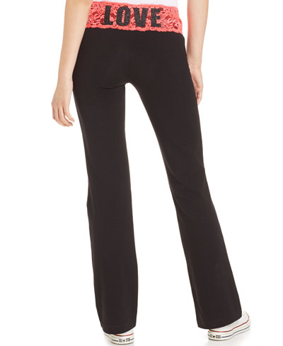 Material Girl Active Juniors' Lace-Waistband Wide-Leg Yoga Pants