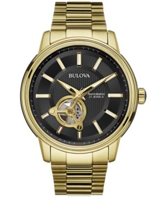 bulova s automatic gold tone stainless steel bracelet