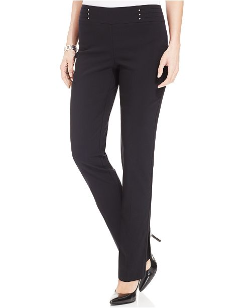 JM Collection Regular and Short Length Studded Pull-On Tummy Control Pants, Created for Macy's