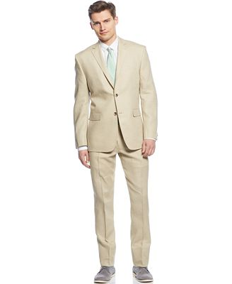 Perry Ellis Tan Solid Linen Slim-Fit Suit - Suits & Suit Separates