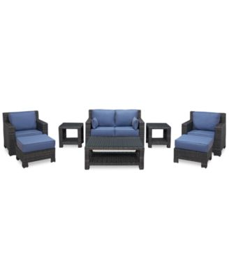 Viewport Outdoor Wicker 8-Pc. Seating Set (1 Loveseat, 2 Club Chairs, 2 Ottomans, 1 Coffee Table and 2 End Tables), Created for Macy's