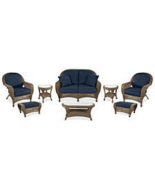 Sandy Cove Outdoor Wicker 8-Pc. Seating Set (1 Loveseat, 2 Club Chairs, 2 Ottomans, 1 Coffee Table and 2 End Tables)Custom Sunbrella®, Created for Macy's