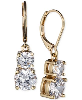 Image of Anne Klein Gold-Tone Double Crystal Drop Earrings
