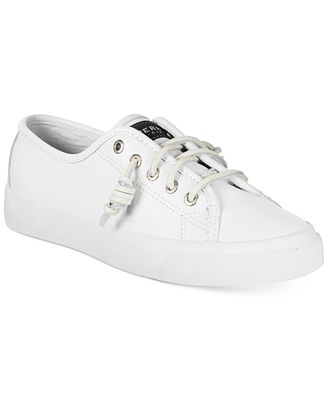 White Sperry Leather Sneakers Ladies