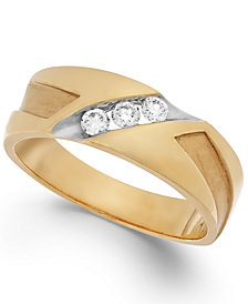 Men's Diamond Diagonal Band in 10k Gold (1/4 ct. t.w.)