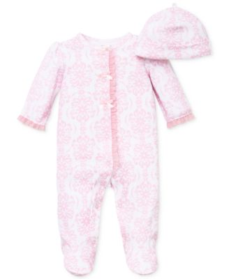 Baby Girls Damask Scroll Hat & Coverall Set