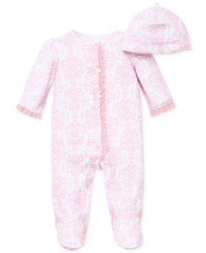 Little Me Baby Girls Damask Scroll Hat  Coverall Set