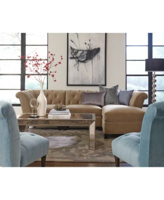 Aubrey Velvet Fabric Modular Living Room Furniture