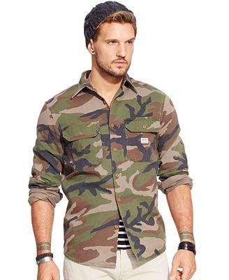 Denim Supply Ralph Lauren Camo Military Shirt Casual