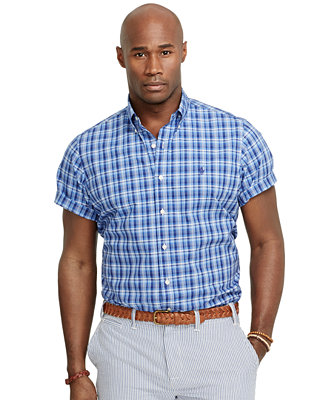 Polo ralph lauren big and tall short sleeve madras shirt casual