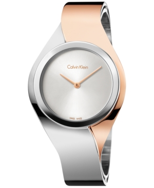 Calvin Klein Women's Swiss Senses Two-Tone Stainless Steel Bangle Bracelet Watch 27mm K5N2S1Z6