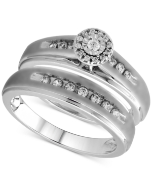 Beautiful Beginnings Diamond Halo Engagement Bridal Ring Set in Sterling Silver (1/3 ct. t.w.)